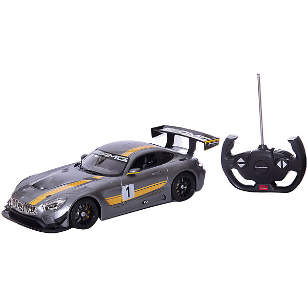 Радиоуправляемая машинка Rastar Mercedes AMG GT3, 1:14Радиоуправляемые машины<br>Характеристики товара:<br><br>• возраст: от 6 лет;<br>• материал: пластик, металл;<br>• в комплекте: машина, пульт;<br>• тип батареек: 5 батареек АА, 1 крона 9V;<br>• наличие батареек: не входят в комплект;<br>• дальность действия пульта: 45 метров;<br>• размер машины: 33,4х13,3х13,8 см;<br>• масштаб: 1:14;<br>• размер упаковки: 43х22,5х17,5 см;<br>• вес упаковки: 1,45 кг;<br>• страна производитель: Китай.<br><br>Радиоуправляемая машина Rastar Mercedes AMG GT3 представляет собой копию настоящего автомобиля. Машина умеет ездить вперед и назад, поворачивать. Она развивает скорость до 7 км/час. Игрушка оснащена световыми эффектами, у нее горят передние и задние фары. Шины машины прорезиненные. Подойдет для игр как в помещении, так и на улице.<br><br>Радиоуправляемую машину Rastar Mercedes AMG GT3 можно приобрести в нашем интернет-магазине.<br>Ширина мм: 430; Глубина мм: 225; Высота мм: 175; Вес г: 1450; Возраст от месяцев: 36; Возраст до месяцев: 180; Пол: Мужской; Возраст: Детский; SKU: 7297274;