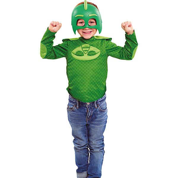 Карнавальный костюм Росмен Герои в масках, Гекко (кофта и маска)Карнавальные костюмы для мальчиков<br>Характеристики товара:<br><br>• цвет: зеленый;<br>• состав: кофта: 100% полиэстер, маска: пластик;<br>• в комплекте два предмета: кофта и маска;<br>• кофта с изображением амулета героя;<br>• маска на мягкой эластичной резинке;<br>• размер маски: 19х15 см;<br>• кофта на рост 116-121 см;<br>• длина рукава: 42 см;<br>• длина по спинке: 35 см;<br>• упаковка: блистер;<br>• страна бренда: Россия;<br>• страна изготовитель: Россия.<br><br>Карнавальный костюм в виде любимого героя Гекко из мультфильма Герои в масках. Костюм состоит из кофты и маски, кофта выполнена полностью из полиэстера, маска пластиковая. Допускается стирка кофты при температуре не выше 30С. <br><br>Карнавальный костюм Росмен Герои в масках, Гекко можно купить в нашем интернет-магазине.<br><br>Ширина мм: 253<br>Глубина мм: 118<br>Высота мм: 310<br>Вес г: 400<br>Возраст от месяцев: 48<br>Возраст до месяцев: 2147483647<br>Пол: Мужской<br>Возраст: Детский<br>SKU: 7298355