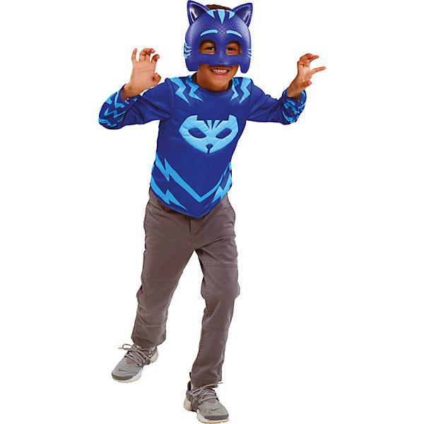 Карнавальный костюм Росмен Герои в масках, Кэтбой (кофта и маска)Карнавальные костюмы для мальчиков<br>Характеристики товара:<br><br>• цвет: синий;<br>• состав: кофта: 100% полиэстер, маска: пластик;<br>• в комплекте два предмета: кофта и маска;<br>• кофта с изображением амулета героя;<br>• маска на мягкой эластичной резинке;<br>• размер маски: 19х15 см;<br>• кофта на рост 116-121 см;<br>• длина рукава: 42 см;<br>• длина по спинке: 35 см;<br>• упаковка: блистер;<br>• страна бренда: Россия;<br>• страна изготовитель: Россия.<br><br>Карнавальный костюм в виде любимого героя Кэтбой из мультфильма Герои в масках. Костюм состоит из кофты и маски, кофта выполнена полностью из полиэстера, маска пластиковая. Допускается стирка кофты при температуре не выше 30С. <br><br>Карнавальный костюм Росмен Герои в масках, Кэтбой можно купить в нашем интернет-магазине.<br><br>Ширина мм: 253<br>Глубина мм: 116<br>Высота мм: 310<br>Вес г: 410<br>Возраст от месяцев: 60<br>Возраст до месяцев: 2147483647<br>Пол: Мужской<br>Возраст: Детский<br>SKU: 7298356