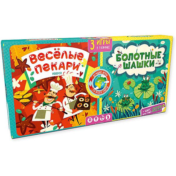 Весёлые пекари. Болотные шашки/Карякина О.Стратегические настольные игры<br>Характеристики товара:<br><br>• возраст: от 4 лет;<br>• пол: для мальчиков и девочек;<br>• из чего сделана игра (состав): картон, пластик;<br>• размер упаковки: 20х37х3 см.;<br>• вес: 781 гр.;<br>• упаковка: картонная коробка;<br>• комплект: 2 игры стратегии, 1 игра уголки;<br>• страна обладатель бренда: Россия.<br><br>Набор настольных игр  «Веселые пекари» и «Болотные шашки» потрясающая идея для увлекательного досуга в кругу друзей.<br><br>Игра «Болотные шашки» позволит окунуться в атмосферу загадочного леса и принять активное участие в соревновании забавных жаб, которые скачут по кочкам, сталкивают лягушек противников в воду и стремятся занять все болото, а  «Веселые пекари» испечь как можно больше вкуснейших пончиков.<br><br>В наборе также ждет приятный сюрприз  захватывающая игра «Болото по обмену», которая предлагает детям вернуться к неугомонным лягушкам и помочь им перебраться на новое место.<br><br>Настольную игру можно купить в нашем интернет-магазине.<br>Ширина мм: 200; Глубина мм: 370; Высота мм: 30; Вес г: 781; Возраст от месяцев: 48; Возраст до месяцев: 72; Пол: Унисекс; Возраст: Детский; SKU: 7299883;