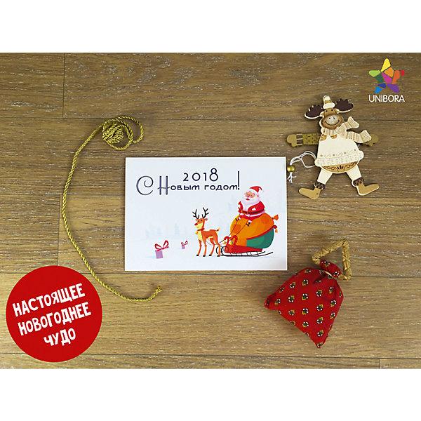 Волшебная новогодняя открыткаДетские открытки<br>Характеристики:<br><br>• поздравительная новогодняя открытка;<br>• оживающее письмо с дополненной реальностью;<br>• дополнительно: телефон или смартфон;<br>• размер открытки: 21х14 см;<br>• материал: бумага.<br><br>Доставить ребенку огромную радость, оригинально поздравить малыша от имени дедушки Мороза, радоваться вместе с крохой и вершить настоящую новогоднюю сказку – под силу каждой мамочке. Вместе с брендом Unibora можно создать в телефоне мультипликационный сюжет: оживить деда Мороза. <br><br>Как оживить письмо:<br><br>• установите и запустите приложение Unibora New Year;<br>• держите телефон или планшет над письмом, убедитесь, что рисунок полностью поместился на экран;<br>• слушайте новогоднее поздравление от Деда Мороза;<br>• делайте удивительные фотографии с ожившим волшебником. <br><br>Оживающую открытку «Новогодняя» можно купить в нашем интернет-магазине.<br><br>Ширина мм: 148<br>Глубина мм: 211<br>Высота мм: 1<br>Вес г: 18<br>Возраст от месяцев: 36<br>Возраст до месяцев: 2147483647<br>Пол: Унисекс<br>Возраст: Детский<br>SKU: 7300255