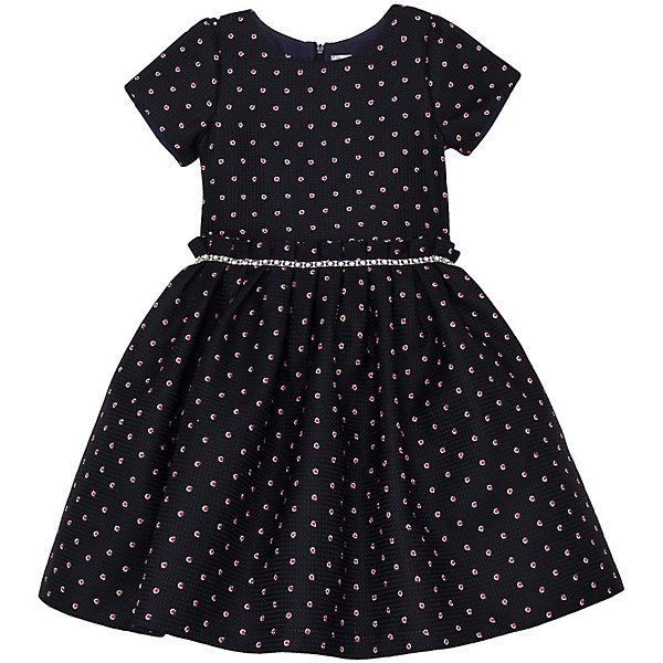 Нарядное платье Vitacci для девочкиОдежда<br>Характеристики товара:<br><br>• цвет: синий;<br>• состав: 100% полиэстер;<br>• подкладка: 100% хлопок;<br>• сезон: круглый год;<br>• особенности: нарядное, на подкладке, в горох;<br>• застежка: молния на спинке;<br>• с пояском;<br>• с коротким рукавом;<br>• страна бренда: Италия;<br>• страна изготовитель: Китай.<br><br>Нарядное платье с коротким рукавом для девочки. Платье в контрастный красный горошек застегивается на молнию сзади. Платье с пышной юбкой.<br><br>Нарядное платье Vitacci (Витачи) можно купить в нашем интернет-магазине.<br>Ширина мм: 236; Глубина мм: 16; Высота мм: 184; Вес г: 177; Цвет: синий; Возраст от месяцев: 96; Возраст до месяцев: 108; Пол: Женский; Возраст: Детский; Размер: 120,110,100,90,130; SKU: 7301027;