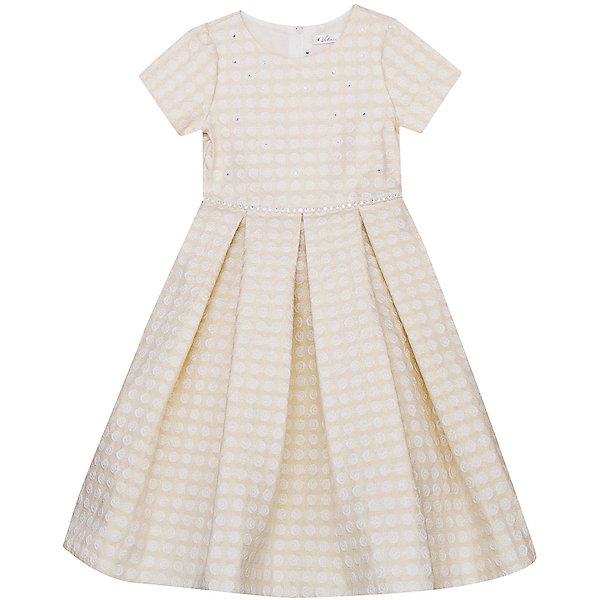 Нарядное платье Vitacci для девочкиОдежда<br>Характеристики товара:<br><br>• цвет: бежевый;<br>• состав: 100% полиэстер;<br>• подкладка: 100% хлопок;<br>• сезон: круглый год;<br>• особенности: нарядное, на подкладке, в горох;<br>• застежка: молния на спинке;<br>• поясок из страз;<br>• с коротким рукавом;<br>• страна бренда: Италия;<br>• страна изготовитель: Китай.<br><br>Нарядное платье с коротким рукавом для девочки. Платье застегивается сзади на молнию. Платье с пояском из страз. Платье декорировано рисунком в горох и несколькими стразиками спереди.<br><br>Нарядное платье Vitacci (Витачи) можно купить в нашем интернет-магазине.<br>Ширина мм: 236; Глубина мм: 16; Высота мм: 184; Вес г: 177; Цвет: бежевый; Возраст от месяцев: 96; Возраст до месяцев: 108; Пол: Женский; Возраст: Детский; Размер: 120,110,100,90,130; SKU: 7301087;