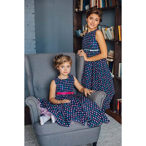 Платье нарядное Unona Dart для девочкиОдежда<br>Характеристики товара:<br><br>• цвет: синий;<br>• состав: 100% полиэстер;<br>• подкладка: 65% полиэстер, 35% хлопок;<br>• сезон: круглый год;<br>• особенности: нарядное, на подкладке, в горох;<br>• застежка: молния на спинке;<br>• поясок-лента;<br>• без рукавов;<br>• страна бренда: Россия;<br>• страна изготовитель: Россия.<br><br>Нарядное платье без рукавов для девочки. Классический  силуэт, лаконичный крой, летящая юбка - вечная классика для любого случая. Регулировка по талии за счет пояса из ленты.<br><br>Нарядное платье Unona Dart (Юнона де Арт) можно купить в нашем интернет-магазине.<br><br>Ширина мм: 236<br>Глубина мм: 16<br>Высота мм: 184<br>Вес г: 177<br>Цвет: синий<br>Возраст от месяцев: 96<br>Возраст до месяцев: 108<br>Пол: Женский<br>Возраст: Детский<br>Размер: 134,116,122,128<br>SKU: 7308993