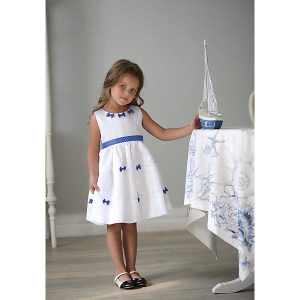 Платье нарядное Unona Dart для девочкиОдежда<br>Характеристики товара:<br><br>• цвет: белый;<br>• состав: 100% полиэстер;<br>• подкладка: 65% полиэстер, 35% хлопок;<br>• сезон: круглый год;<br>• особенности: нарядное, на подкладке;<br>• застежка: молния на спинке;<br>• поясок-лента;<br>• без рукавов;<br>• страна бренда: Россия;<br>• страна изготовитель: Россия.<br><br>Нарядное платье без рукавов для девочки. Платье выполнено их тафты, благородное шуршание которой так нравится девочкам! Изюминкой платья стали крошечные бантики, мило разбросанные по юбке. Пояс из репсовой ленты в горошек обеспечит прилегание по талии.<br><br>Нарядное платье Unona Dart (Юнона де Арт) можно купить в нашем интернет-магазине.<br>Ширина мм: 236; Глубина мм: 16; Высота мм: 184; Вес г: 177; Цвет: белый; Возраст от месяцев: 48; Возраст до месяцев: 60; Пол: Женский; Возраст: Детский; Размер: 122,116,110; SKU: 7309021;