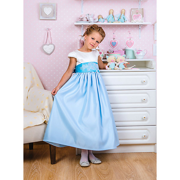 Платье нарядное Unona Dart для девочкиОдежда<br>Характеристики товара:<br><br>• цвет: голубой;<br>• состав: 100% полиэстер;<br>• подкладка: 65% полиэстер, 35% хлопок;<br>• сезон: круглый год;<br>• особенности: нарядное, на подкладке;<br>• застежка: молния на спинке;<br>• поясок-лента;<br>• с коротким рукавом;<br>• страна бренда: Россия;<br>• страна изготовитель: Россия.<br><br>Нарядное платье с коротким рукавом для девочки. Роскошное платье в пол с широким поясом, отделанным кружевом. Длина до пола. Гладкий лиф, маленький рукав-крылышко. Широкий пояс, украшенный декоративным кружевным фрагментом, сзади завязывается на бант. Мягкие складки придают юбке пышность. Платье застегивается на молнию.<br><br>Нарядное платье Unona Dart (Юнона де Арт) можно купить в нашем интернет-магазине.<br>Ширина мм: 236; Глубина мм: 16; Высота мм: 184; Вес г: 177; Цвет: голубой; Возраст от месяцев: 60; Возраст до месяцев: 72; Пол: Женский; Возраст: Детский; Размер: 116,134,128,122; SKU: 7309035;