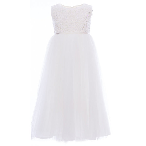 Платье нарядное Unona Dart для девочкиОдежда<br>Характеристики товара:<br><br>• цвет: белый;<br>• состав: 100% полиэстер;<br>• подкладка: 65% полиэстер, 35% хлопок;<br>• сезон: круглый год;<br>• особенности: нарядное, на подкладке;<br>• застежка: молния на спинке;<br>• поясок-лента;<br>• без рукавов;<br>• завышенная талия;<br>• страна бренда: Россия;<br>• страна изготовитель: Россия.<br><br>Нарядное платье без рукавов для девочки. Роскошное платье с завышенной талией в итальянском стиле. Длина ниже колена. Лиф украшен богатой вышивкой и сияющими стразами. Нежная сетка на юбке густо собрана. Платье застегивается на молнию. Дополнительное облегание достигается за счет пояса из репсовой ленты.<br><br>Нарядное платье Unona Dart (Юнона де Арт) можно купить в нашем интернет-магазине.<br><br>Ширина мм: 236<br>Глубина мм: 16<br>Высота мм: 184<br>Вес г: 177<br>Цвет: белый<br>Возраст от месяцев: 96<br>Возраст до месяцев: 108<br>Пол: Женский<br>Возраст: Детский<br>Размер: 110,128,122,116<br>SKU: 7309054