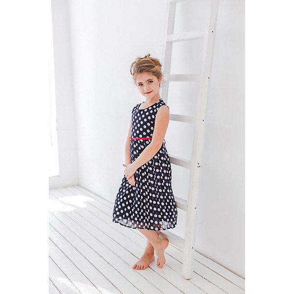 Платье нарядное Unona Dart для девочкиОдежда<br>Характеристики товара:<br><br>• цвет: синий;<br>• состав: 100% полиэстер;<br>• подкладка: 65% полиэстер, 35% хлопок;<br>• сезон: круглый год;<br>• особенности: нарядное, на подкладке, в горох;<br>• застежка: молния на спинке;<br>• ремешок;<br>• без рукавов;<br>• пышная юбка;<br>• страна бренда: Россия;<br>• страна изготовитель: Россия.<br><br>Нарядное платье без рукавов для девочки. Элегантное платье для девочки, выполненное во французском стиле. Платье из синего шифона в белый горох. Гладкий лиф, плиссированная юбка длинной чуть ниже колен. Красный тонкий ремешок подчеркнет талию.<br><br>Нарядное платье Unona Dart (Юнона де Арт) можно купить в нашем интернет-магазине.<br><br>Ширина мм: 236<br>Глубина мм: 16<br>Высота мм: 184<br>Вес г: 177<br>Цвет: белый<br>Возраст от месяцев: 96<br>Возраст до месяцев: 108<br>Пол: Женский<br>Возраст: Детский<br>Размер: 134,122,128<br>SKU: 7309092