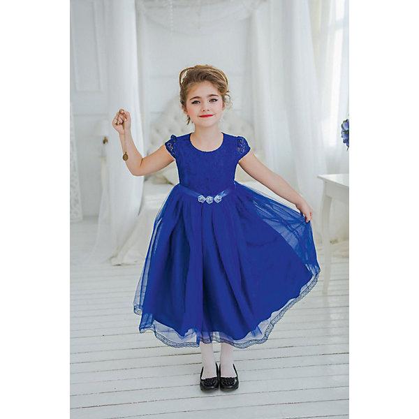 Платье нарядное Unona Dart для девочкиОдежда<br>Характеристики товара:<br><br>• цвет: синий;<br>• состав: 100% полиэстер;<br>• подкладка: 65% полиэстер, 35% хлопок;<br>• сезон: круглый год;<br>• особенности: нарядное, на подкладке;<br>• застежка: молния на спинке;<br>• поясок-лента;<br>• с коротким рукавом;<br>• пышная юбка;<br>• страна бренда: Россия;<br>• страна изготовитель: Россия.<br><br>Нарядное платье с коротким рукавом для девочки. Роскошное платье с завышенной талией и маленьким рукавчиком в итальянском стиле. Длина ниже колена. Лиф из мягкого кружева. Нежная сетка на юбке густо собрана, по низу юбки тонкое кружево. Платье застегивается на молнию. Дополнительное облегание достигается за счет пояса из репсовой ленты.<br><br>Нарядное платье Unona Dart (Юнона де Арт) можно купить в нашем интернет-магазине.<br>Ширина мм: 236; Глубина мм: 16; Высота мм: 184; Вес г: 177; Цвет: синий; Возраст от месяцев: 60; Возраст до месяцев: 72; Пол: Женский; Возраст: Детский; Размер: 116,128,122; SKU: 7309104;