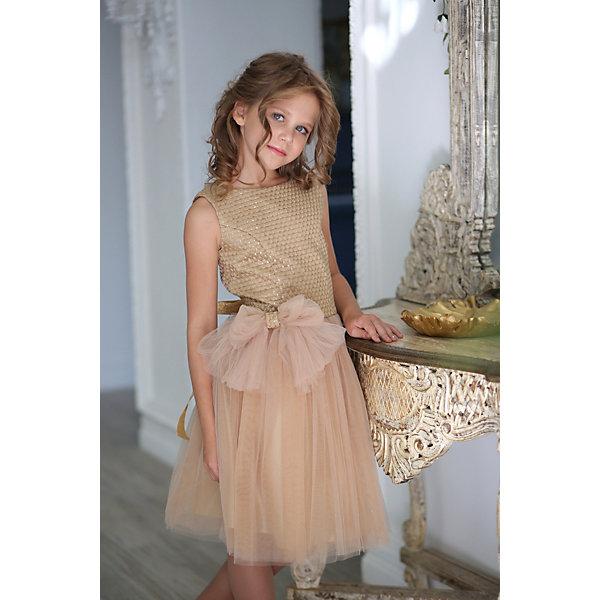Платье нарядное Unona Dart для девочкиОдежда<br>Характеристики товара:<br><br>• цвет: золотой;<br>• состав: 100% полиэстер;<br>• подкладка: 65% полиэстер, 35% хлопок;<br>• сезон: круглый год;<br>• особенности: нарядное, на подкладке;<br>• застежка: молния на спинке;<br>• поясок-лента;<br>• без рукавов;<br>• страна бренда: Россия;<br>• страна изготовитель: Россия.<br><br>Нарядное платье без рукавов для девочки. Коктейльное платье длиной до колена. Лиф слегка удлинён, выполнен из фактурной ткани, расшитой матовыми пайетками в тон. Юбка пышная, наполненная. Платье подойдет для любого праздника.<br><br>Нарядное платье Unona Dart (Юнона де Арт) можно купить в нашем интернет-магазине.<br>Ширина мм: 236; Глубина мм: 16; Высота мм: 184; Вес г: 177; Цвет: желтый; Возраст от месяцев: 132; Возраст до месяцев: 144; Пол: Женский; Возраст: Детский; Размер: 152,134,140,146; SKU: 7309152;