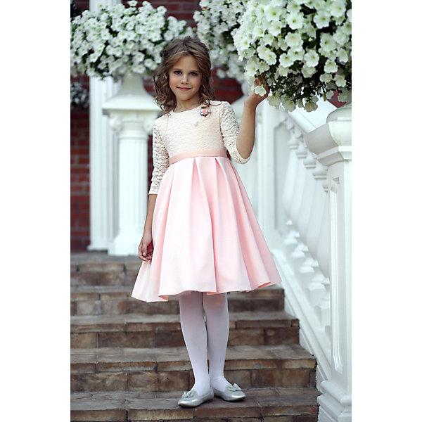 Платье нарядное Unona Dart для девочкиОдежда<br>Характеристики товара:<br><br>• цвет: розовый;<br>• состав: 100% полиэстер;<br>• подкладка: 65% полиэстер, 35% хлопок;<br>• сезон: круглый год;<br>• особенности: нарядное, на подкладке;<br>• застежка: молния на спинке;<br>• поясок-лента;<br>• с длинным рукавом;<br>• страна бренда: Россия;<br>• страна изготовитель: Россия.<br><br>Нарядное платье с длинным рукавом для девочки. Нежное платье с длинным рукавом. Лиф выполнен из мягкой ажурной ткани с растительным рисунком. Наполненная пышная, в то же время мягкая, юбка в крупную складку. Декор - брошь - завершает композицию.<br><br>Нарядное платье Unona Dart (Юнона де Арт) можно купить в нашем интернет-магазине.<br>Ширина мм: 236; Глубина мм: 16; Высота мм: 184; Вес г: 177; Цвет: оранжевый; Возраст от месяцев: 84; Возраст до месяцев: 96; Пол: Женский; Возраст: Детский; Размер: 128,140,134; SKU: 7309166;