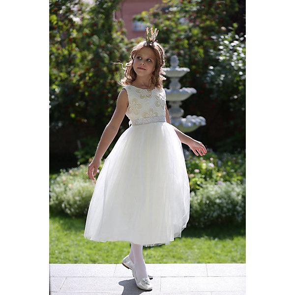 Платье нарядное Unona Dart для девочкиОдежда<br>Характеристики товара:<br><br>• цвет: золотой/белый;<br>• состав: 100% полиэстер;<br>• подкладка: 65% полиэстер, 35% хлопок;<br>• сезон: круглый год;<br>• особенности: нарядное, на подкладке;<br>• застежка: молния на спинке;<br>• поясок-лента;<br>• без рукавов;<br>• страна бренда: Россия;<br>• страна изготовитель: Россия.<br><br>Нарядное платье без рукавов для девочки. Изысканное бальное платье в стиле принцесс длиной до щиколотки. Лиф лаконичного покроя выполнен из кружева крупной фактуры. Юбка многослойная, пышная, держит форму. Пояс съемный, усыпан стразами и жемчужинами высокого качества, которые будут сверкать в лучах праздничных софитов.<br><br>Нарядное платье Unona Dart (Юнона де Арт) можно купить в нашем интернет-магазине.<br>Ширина мм: 236; Глубина мм: 16; Высота мм: 184; Вес г: 177; Цвет: желтый; Возраст от месяцев: 48; Возраст до месяцев: 60; Пол: Женский; Возраст: Детский; Размер: 122,116,128,134; SKU: 7309185;