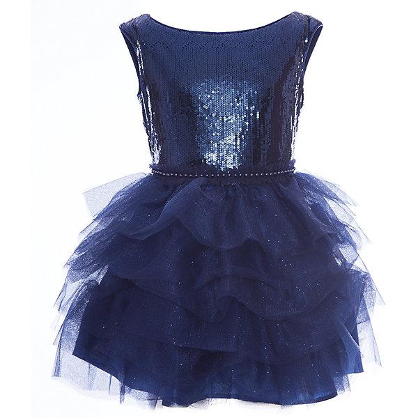 Платье нарядное Unona Dart для девочкиОдежда<br>Характеристики товара:<br><br>• цвет: синий;<br>• состав: 100% полиэстер;<br>• подкладка: 65% полиэстер, 35% хлопок;<br>• сезон: круглый год;<br>• особенности: нарядное, на подкладке;<br>• застежка: молния на спинке;<br>• поясок-тесьма;<br>• без рукавов;<br>• страна бренда: Россия;<br>• страна изготовитель: Россия.<br><br>Нарядное платье без рукавов для девочки. Ультрамодное, короткое платье для вечеринок. Лиф выполнен из эластичного материала с пайетками, по краям обработан кантом. Юбка пышная, с ярусами.  По талии декоративная тесьма.<br><br>Нарядное платье Unona Dart (Юнона де Арт) можно купить в нашем интернет-магазине.<br><br>Ширина мм: 236<br>Глубина мм: 16<br>Высота мм: 184<br>Вес г: 177<br>Цвет: синий<br>Возраст от месяцев: 96<br>Возраст до месяцев: 108<br>Пол: Женский<br>Возраст: Детский<br>Размер: 134,146,140<br>SKU: 7309209