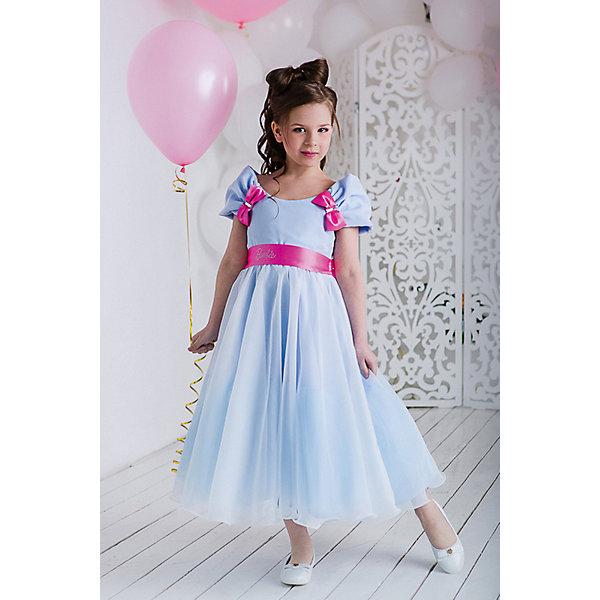 Платье нарядное Barbie™ для девочкиОдежда<br>Характеристики товара:<br><br>• цвет: голубой;<br>• состав: 100% полиэстер;<br>• подкладка: 65% полиэстер, 35% хлопок;<br>• сезон: круглый год;<br>• особенности: нарядное, на подкладке;<br>• застежка: молния;<br>• поясок-лента;<br>• с коротким рукавом;<br>• страна бренда: США;<br>• страна изготовитель: Россия.<br><br>Нарядное платье с коротким рукавом для девочки. Длина до середины голени. Гладкий лиф дополняют пышные рукава с отделкой контрастными бантами. Пышная юбка-солнце из легкой сетки поверх плотной ткани. Платье застегивается на молнию. Дополнительное облегание и декор обеспечивает контрастный пояс с изысканной маленькой аппликацией Barbie из мелких страз высокого качества.<br><br>Нарядное платье Barbie (Барби) можно купить в нашем интернет-магазине.<br>Ширина мм: 236; Глубина мм: 16; Высота мм: 184; Вес г: 177; Цвет: голубой; Возраст от месяцев: 24; Возраст до месяцев: 36; Пол: Женский; Возраст: Детский; Размер: 98,128,122,116,110,104; SKU: 7309292;