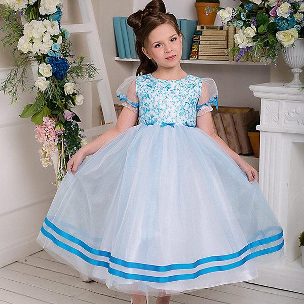 Платье нарядное Barbie™ для девочкиОдежда<br>Характеристики товара:<br><br>• цвет: голубой;<br>• состав: 100% полиэстер;<br>• подкладка: 65% полиэстер, 35% хлопок;<br>• сезон: круглый год;<br>• особенности: нарядное, на подкладке;<br>• застежка: молния;<br>• поясок-лента;<br>• с коротким рукавом;<br>• страна бренда: США;<br>• страна изготовитель: Россия.<br><br>Нарядное платье с коротким рукавом для девочки. Длина до щиколотки. Гладкий лиф с затейливой вышивкой и прозрачными рукавами-фонарик. Пышная юбка отделана яркой репсовой лентой. Из той же ленты сделаны бантики на рукавах и поясе. Платье застегивается на молнию.<br><br>Нарядное платье Barbie (Барби) можно купить в нашем интернет-магазине.<br>Ширина мм: 236; Глубина мм: 16; Высота мм: 184; Вес г: 177; Цвет: голубой; Возраст от месяцев: 84; Возраст до месяцев: 96; Пол: Женский; Возраст: Детский; Размер: 128,98,104,110,116,122; SKU: 7309306;