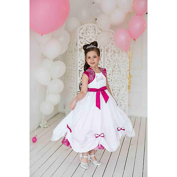 Платье нарядное Barbie™ для девочкиОдежда<br>Характеристики товара:<br><br>• цвет: белый;<br>• состав: 100% полиэстер;<br>• подкладка: 65% полиэстер, 35% хлопок;<br>• сезон: круглый год;<br>• особенности: нарядное, на подкладке;<br>• застежка: молния;<br>• поясок-лента;<br>• с коротким рукавом;<br>• страна бренда: США;<br>• страна бренда: Россия;<br><br>Нарядное платье с коротким рукавом для девочки. Лиф с имитацией болеро богато украшен стразами. Сложная юбка из тафты с подхватами, драпировки на пышной юбке заканчиваются бантиками. Бантики отстегиваются, это очень удобно при стирке.  Прилегание регулируется поясом.<br><br>Нарядное платье Barbie (Барби) можно купить в нашем интернет-магазине.<br>Ширина мм: 236; Глубина мм: 16; Высота мм: 184; Вес г: 177; Цвет: розовый; Возраст от месяцев: 24; Возраст до месяцев: 36; Пол: Женский; Возраст: Детский; Размер: 98,128,122,116,110,104; SKU: 7309313;