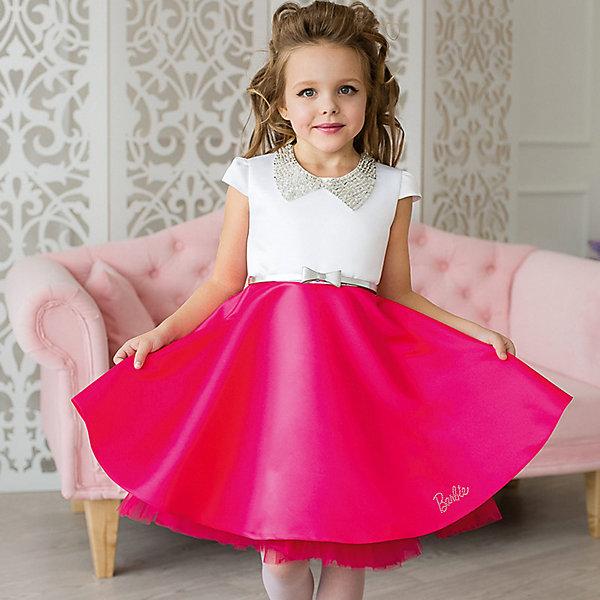 Платье нарядное Barbie™ для девочкиОдежда<br>Характеристики товара:<br><br>• цвет: розовый;<br>• состав: 100% полиэстер;<br>• подкладка: 65% полиэстер, 35% хлопок;<br>• сезон: круглый год;<br>• особенности: нарядное, на подкладке;<br>• застежка: молния;<br>• ремешок;<br>• страна бренда: США;<br>• страна бренда: Россия;<br><br>Нарядное платье для девочки. Яркое, стильное коктейльное платье длиной до колена. Гладкая юбка поддерживается пышной пачкой из сетки. Воротничок, расшитый вручную бисером и пайетками, завязывается сзади на ленты. Крупная аппликация Barbie из страз высокого качества на юбке. Серебристый ремень и съемный воротник, расшитый бисером, входят в комплект.<br><br>Нарядное платье Barbie (Барби) можно купить в нашем интернет-магазине.<br>Ширина мм: 236; Глубина мм: 16; Высота мм: 184; Вес г: 177; Цвет: розовый; Возраст от месяцев: 24; Возраст до месяцев: 36; Пол: Женский; Возраст: Детский; Размер: 98,128,122,116,110,104; SKU: 7309334;