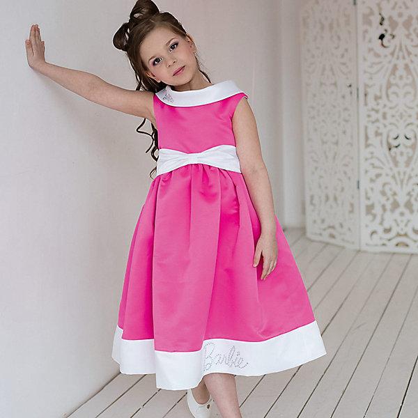 Платье нарядное Barbie™ для девочкиОдежда<br>Характеристики товара:<br><br>• цвет: розовый;<br>• состав: 100% полиэстер;<br>• подкладка: 65% полиэстер, 35% хлопок;<br>• сезон: круглый год;<br>• особенности: нарядное, на подкладке;<br>• страна бренда: США;<br>• страна бренда: Россия;<br><br>Нарядное платье для девочки. Аристократичное, элегантное платье. Выпонено из специальной ткани, позволяющей держать мягкие формы. Округлый вороник-лодочка, пояс и широкий кант на юбке выполнены на контрасте - все очень стильно и выдержано. Идеальное платье для выхода в свет! Изысканная маленькая аппликация Barbie из мелких страз высокого качества на воротнике.  <br><br>Нарядное платье Barbie (Барби) можно купить в нашем интернет-магазине.<br><br>Ширина мм: 236<br>Глубина мм: 16<br>Высота мм: 184<br>Вес г: 177<br>Цвет: белый<br>Возраст от месяцев: 84<br>Возраст до месяцев: 96<br>Пол: Женский<br>Возраст: Детский<br>Размер: 128,98,104,110,116,122<br>SKU: 7309362