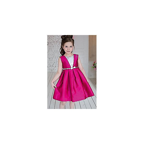 Платье нарядное Barbie™ для девочкиОдежда<br>Характеристики товара:<br><br>• цвет: фуксия;<br>• состав: 100% полиэстер;<br>• подкладка: 65% полиэстер, 35% хлопок;<br>• сезон: круглый год;<br>• особенности: нарядное, на подкладке;<br>• страна бренда: США;<br>• страна бренда: Россия;<br><br>Нарядное платье для девочки. Стильное платье  для вечеринок в стиле Barbie™. Платье выполнено из ткани, имитирующей натуральный шелк. Оригинальный дизайн лифа с блестящей вставкой из пайеток и пышная юбка в складку придают платью кокетства. <br>Изысканная маленькая аппликация Barbie из страз высокого качества на отвороте лифа.  Серебристый ремень входит в комплект.<br><br>Нарядное платье Barbie (Барби) можно купить в нашем интернет-магазине.<br><br>Ширина мм: 236<br>Глубина мм: 16<br>Высота мм: 184<br>Вес г: 177<br>Цвет: розовый<br>Возраст от месяцев: 24<br>Возраст до месяцев: 36<br>Пол: Женский<br>Возраст: Детский<br>Размер: 98,128,122,116,110,104<br>SKU: 7309383