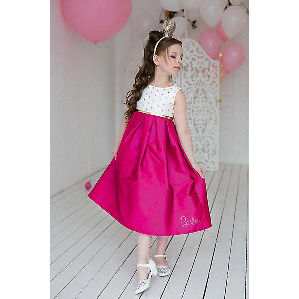 Платье нарядное Barbie™ для девочкиОдежда<br>Характеристики товара:<br><br>• цвет: розовый;<br>• состав: 100% полиэстер;<br>• подкладка: 65% полиэстер, 35% хлопок;<br>• сезон: круглый год;<br>• особенности: нарядное, на подкладке;<br>• страна бренда: США;<br>• страна бренда: Россия;<br><br>Нарядное платье для девочки. Платье в стиле Barbie™princess длиной до щиколотки.  Платье выполнено из ткани, имитирующей натуральный шелк.  Простой лиф щедро украшен звездами, пышная длинная юбка и золотой поясок - все как любит Barbie™! <br>Крупная аппликация Barbie из страз высокого качества на юбке. Золотистый ремешок в комплекте.<br><br>Нарядное платье Barbie (Барби) можно купить в нашем интернет-магазине.<br>Ширина мм: 236; Глубина мм: 16; Высота мм: 184; Вес г: 177; Цвет: розовый; Возраст от месяцев: 84; Возраст до месяцев: 96; Пол: Женский; Возраст: Детский; Размер: 98,128,122,116,110,104; SKU: 7309397;