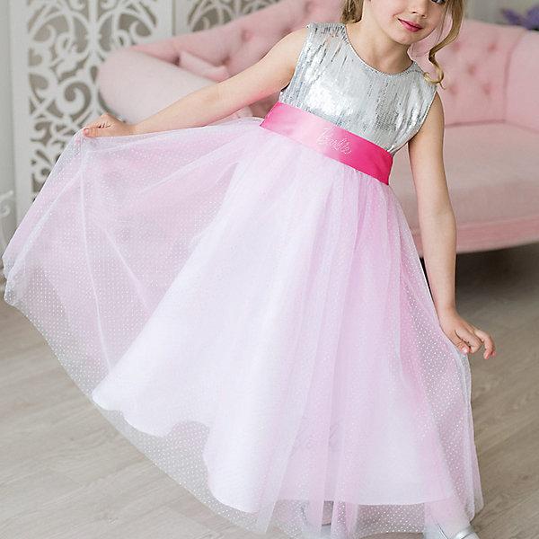 Платье нарядное Barbie™ для девочкиОдежда<br>Характеристики товара:<br><br>• цвет: розовый;<br>• состав: 100% полиэстер;<br>• подкладка: 65% полиэстер, 35% хлопок;<br>• сезон: круглый год;<br>• особенности: нарядное, на подкладке;<br>• страна бренда: США;<br>• страна бренда: Россия;<br><br>Нарядное платье для девочки. Бальное платье в стиле Barbie™princess. Легкая летящая юбка-солнце из ткани с серебристыми брызгами, блестящий лиф, отражающий лучи софитов, сделают Вас королевой бала. Изысканная маленькая аппликация Barbie из мелких страз высокого качества на поясе.  <br><br>Нарядное платье Barbie (Барби) можно купить в нашем интернет-магазине.<br>Ширина мм: 236; Глубина мм: 16; Высота мм: 184; Вес г: 177; Цвет: розовый; Возраст от месяцев: 24; Возраст до месяцев: 36; Пол: Женский; Возраст: Детский; Размер: 98,128,122,116,110,104; SKU: 7309411;