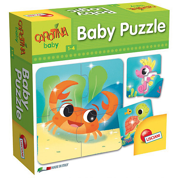 Паззл «ПАЗЗЛ ДЛЯ МАЛЫШЕЙ», LiscianiПазлы для малышей<br>Характеристики:<br><br>• Baby Puzzle – цикл паззлов с изображением морских обитателей;<br>• каждый паззл состоит из 4 элементов;<br>• всего в наборе 8 мини-паззлов;<br>• состав набора: 32 элемента;<br>• возраст детей: от 12 месяцев до 4 лет;<br>• материал: картон;<br>• размер упаковки: 19х6х19 см;<br>• вес: 350 г.<br><br>Складывать паззлы могут дети уже с 12 месяцев. Паззлы развивают логическое мышление, цветовосприятие, координацию движений. Каждый паззл состоит из 4-х частей. Малыш ищет соответствия в картинках и деталях паззла, складывает сюжетную картинку. <br><br>Продукт разработан в Италии, в Центре Исследований и Разработки Lisciani. <br><br>Настольную игру «Паззл для малышей», Lisciani можно купить в нашем интернет-магазине.<br>Ширина мм: 188; Глубина мм: 60; Высота мм: 188; Вес г: 350; Возраст от месяцев: 12; Возраст до месяцев: 2147483647; Пол: Унисекс; Возраст: Детский; SKU: 7311162;