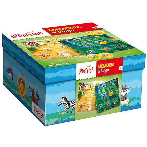 Игра настольная 2 в 1: «Мемори и лото», LudatticaЛото<br>Характеристики:<br><br>• классические игры, вариант для малышей: мемо и лото;<br>• правила игры мемо: запомнить парные карточки и их расположение;<br>• правила игры лото: доставать из мешочка карточки с животными, называть их и находить на игровом поле;<br>• цель игр: развитие логического мышления и памяти ребенка;<br>• возраст: от 3 лет;<br>• состав набора: 5 карточек, 50 животных, мешочек, правила игры;<br>• материал: картон;<br>• размер упаковки: 18х10х18 см;<br>• вес: 550 г.<br><br>Настольные игры Мемори и лото позволяют развить у малыша память, усидчивость, внимание. Дети знакомятся с животными, сферой их обитания и особенностями питания в форме лото и игры-мемори. Малышам предлагаются карточки из очень плотного картона. Набор для развития памяти и концентрации внимания. В процессе игры развивается память и внимание, ребенок запоминает и называет расположение карточек и находит парные значения, ищет животных по соответствии картинок и названий.<br><br>Продукт разработан в Италии, в Центре Исследований и Разработки Lisciani.<br><br>Игру настольную 2 в 1: «Мемори и лото», Ludattica можно купить в нашем интернет-магазине.<br>Ширина мм: 180; Глубина мм: 100; Высота мм: 180; Вес г: 550; Возраст от месяцев: 36; Возраст до месяцев: 2147483647; Пол: Унисекс; Возраст: Детский; SKU: 7311164;