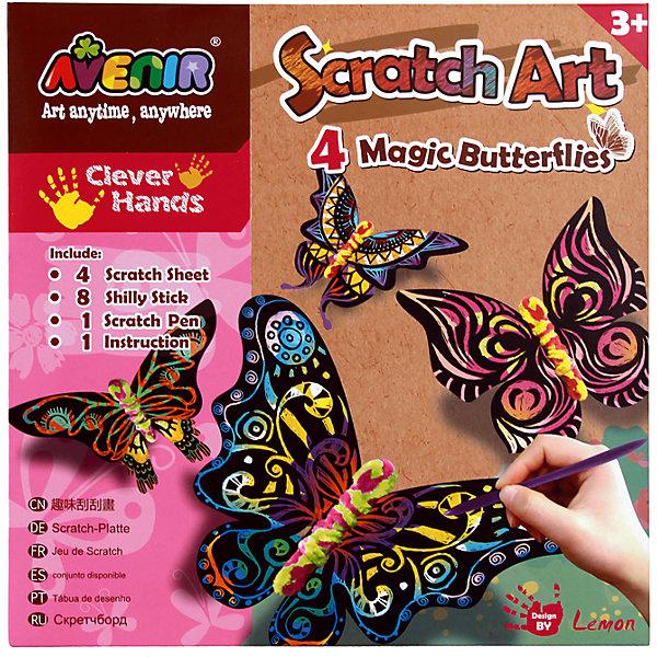 Набор для гравюры Волшебные бабочкиГравюры для детей<br>Характеристики товара:<br><br>• возраст: от 3 лет;<br>• пол: девочка;<br>В комплекте:<br>• 4 картонных силуэта бабочек;<br>• 12 проволочек; <br>• штихель;<br>• из чего сделана игрушка (состав): картон, пластик; <br>• вес: 80 гр.;<br>• размер упаковки: 23х23х0,2 см.;<br>• упаковка: картонная конверт.<br><br>Этот набор позволит ребенку познакомиться с уникальной техникой рисования Scratch Art.<br><br>В набор входит 4 картонных силуэта бабочек с темным напылением разных форм. Ребенок может самостоятельно фантазировать и наносить причудливые узоры на крылышки бабочек специальным инструментом. Входящие в состав набора пушистые палочки с ворсом разных цветов позволят придумывать дизайн с разным сочетанием цветов крылышек и тела бабочки.<br><br>Такой увлекательный творческий процесс поможет не только разнообразить досуг детей, но и провести его с пользой для мелкой моторики рук и координации движений. Набор  научит терпению, умению доводить до конца начатое, поможет развить воображение и укрепит пальцы рук.<br><br>Набор для гравюры «Волшебные бабочки» можно купить в нашем интернет-магазине.<br>Ширина мм: 230; Глубина мм: 230; Высота мм: 2; Вес г: 90; Возраст от месяцев: 36; Возраст до месяцев: 2147483647; Пол: Женский; Возраст: Детский; SKU: 7313466;