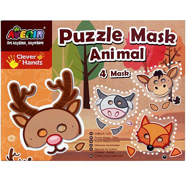 Набор-пазл для создания масок ЖивотныеДетские карнавальные маски<br>Характеристики товара:<br><br>• возраст: от 3 лет;<br>• пол: мальчик, девочка;<br>В комплекте:<br>• 4 маски;<br>• 1 лист с наклейками; <br>• 4 эластичные резинки;<br>• двухсторонний скотч;<br>• из чего сделана игрушка (состав): картон, текстиль, бумага; <br>• вес: 0,13 кг.;<br>• размер упаковки: 31,5х24х0,2 см.;<br>• упаковка: картонный конверт.<br><br>Набор-конструктор для создания масок животных позволит ребенку своими руками сделать украшение для праздника. <br><br>В набор входят все необходимые заготовки для этого увлекательного творческого процесса, что упростит задачу создания маски. Собственноручно изготовленной маской будет приятно хвастаться, а еще она станет превосходным дополнением образа зверюшки на утренник или театральное представление. Набор помогает развивать воображение, творческое мышление и мелкую моторику.<br><br>Набор-пазл для создания масок «Животные» можно купить в нашем интернет-магазине.<br><br>Ширина мм: 315<br>Глубина мм: 240<br>Высота мм: 2<br>Вес г: 130<br>Возраст от месяцев: 36<br>Возраст до месяцев: 2147483647<br>Пол: Унисекс<br>Возраст: Детский<br>SKU: 7313472