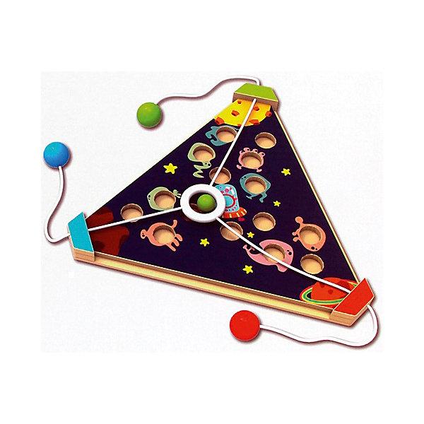 Развивающая игра Возвращение на планетуГоловоломки - игры<br>Характеристики товара:<br><br>• возраст: от 3 лет;<br>• пол: мальчик, девочка;<br>В комплекте:<br>• 6 игровых карт;<br>• игровое поле;<br>• шарик;<br>• количество предполагаемых игроков: 3 человека;<br>• из чего сделана игрушка (состав): дерево, картон; <br>• вес: 0,58 кг.;<br>• размер упаковки: 31х31х5 см.;<br>• упаковка: картонная коробка.<br><br>Развивающая командная игра из дерева Возвращение на планету предоставляет ребенку возможность весело провести время. Для этого детям потребуется лишь ловкость рук.<br><br>Участнику игры предстоит разместить шарик в одну из множества ячеек, имеющихся на деревянном игровом поле треугольной формы, используя для этого специальные шнурки и шесть карт, входящих в комплект.<br><br>Игра развивает креативные и интеллектуальные способности ребенка, координацию, наблюдательность, учит работе в команде.<br><br>Развивающая игра «Возвращение на планету» можно купить в нашем интернет-магазине.<br>Ширина мм: 310; Глубина мм: 310; Высота мм: 50; Вес г: 580; Возраст от месяцев: 36; Возраст до месяцев: 2147483647; Пол: Унисекс; Возраст: Детский; SKU: 7313483;