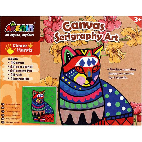 Большой набор для шелкографии КотНаборы для росписи<br>Характеристики товара:<br><br>• возраст: от 3 лет;<br>• пол: мальчик, девочка;<br>В комплекте:<br>• 1 холст;<br>• 4 бумажных трафарета; <br>• 6 тюбиков с краской;<br>• 1 кисточка;<br>• из чего сделана игрушка (состав): картон, текстиль, пластик; <br>• вес: 0,26 кг.;<br>• размер упаковки: 21х27х4 см.;<br>• упаковка: картонная коробка.<br><br>Набор для творчества Кот позволит детям познакомиться с техникой шелкографии. В набор входят бумажные трафареты, тюбики с краской, холст и кисточка. А благодаря подробной инструкции ребенок легко и с удовольствием будет заниматься созданием великолепной картины с изображением кота.<br><br>Такой набор для шелкографии способствует развитию воображения и творческих способностей.<br><br>Большой набор для шелкографии «Кот» можно купить в нашем интернет-магазине.<br>Ширина мм: 210; Глубина мм: 270; Высота мм: 40; Вес г: 260; Возраст от месяцев: 36; Возраст до месяцев: 2147483647; Пол: Женский; Возраст: Детский; SKU: 7313485;