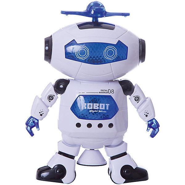 Мини-робот Fun ToyРоботы-игрушки<br>Характеристики товара:<br><br>• размер: 18х21х7 см;<br>• возраст: от 3 лет;<br>• материал: пластик, металл;<br>• размер упаковки: 19х10х25 см;<br>• батарейки: АА - 3 шт. (не входят в комплект);<br>• страна бренда: Китай.<br><br>Этот робот станет настоящим другом для ребенка. Он умеет танцевать, вертеться и вращать свой пропеллер над головой. Во время работы игрушка танцует в такт музыке, разворачивается на 360 градусов и двигает руками и ногами. По всему туловищу робота мигают огоньки, а пропеллер светится яркой радугой. Для работы необходимы 3 батарейки АА (в комплект не входят).<br><br>Робота, Shantou Gepai (Шанту Гепаи) можно купить в нашем интернет-магазине.<br>Ширина мм: 190; Глубина мм: 100; Высота мм: 250; Вес г: 390; Возраст от месяцев: 36; Возраст до месяцев: 2147483647; Пол: Унисекс; Возраст: Детский; SKU: 7313998;