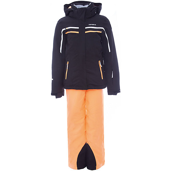 Комплект (куртка+брюки) ICEPEAK для девочкиВерхняя одежда<br>Характеристики товара:  <br><br>• цвет: черный;  <br>• комплектация: куртка и брюки;  <br>• состав ткани: 100% полиэстер; <br>• подкладка: 100% полиэстер; <br>• утеплитель: 100% полиэстер; <br>• сезон: зима; <br>• температурный режим: от 0 до -25С; <br>• страна бренда: Финляндия; <br>• страна изготовитель: Китай.  <br><br>Куртка: • плотность утеплителя: тело 160; рукава: 140 г/м2; • застежка: молния с дополнительной защитной планкой; • водоотталкивающий, ветронепроницаемый и дышащий материал; • гладкая подкладка из полиэстера; • безопасный съемный капюшон;  • рукав регулируется липучкой;  • карман на молнии; • снегозащитная юбка со стянутой по краю плоской резиновой тесьмой с нескользящей поверхностью; • светоотражающие детали;  <br><br>Брюки: •  на отстегивающихся лямках,  • завышенная талия на спине для комфорта,  •эластичный пояс, внутренние манжеты с резинкой для защиты от снега,  • сформированное колено,  • светоотражающие элементы,  • плотность утеплителя: 100 гр.  Яркий зимний комплект Icepeak (Финляндия) состоит из куртки и брюк на лямках. <br><br>Удобный теплый комплект для ребенка позволит наслаждаться зимой, не боясь замерзнуть.  <br><br>Комплект (куртка+брюки) ICEPEAK для девочки можно купить в нашем интернет-магазине.<br>Ширина мм: 356; Глубина мм: 10; Высота мм: 245; Вес г: 519; Цвет: черный; Возраст от месяцев: 84; Возраст до месяцев: 96; Пол: Женский; Возраст: Детский; Размер: 128,176,164,152,140; SKU: 7314710;