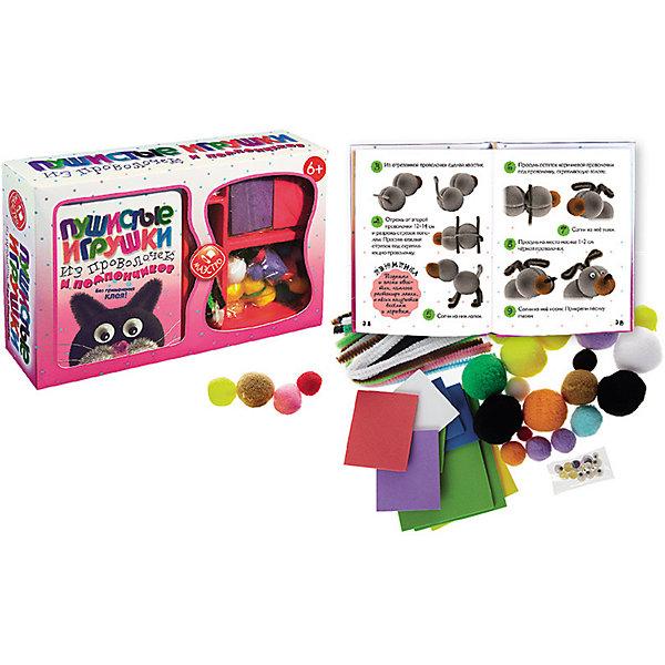Пушистые игрушки из проволочек и помпончиковШитьё<br>Характеристики товара:<br><br>• возраст: от 3 лет;<br>• пол: мальчик, девочка;<br>• в комплекте: 22 помпончика, 18 пушистых проволочек, глазки, мягкий прорезиненый картон , книга 48 стр. с цветными иллюстрациями;<br>• размер упаковки: 25х6х16.5 см.;<br>• упаковка: подарочная коробка.<br><br>Сделай из помпончиков и пушистых проволочек 10 очень милых пушистиков!<br><br>В этом наборе есть всё, чтобы делать поделки из помпончиков без применения клея. Тебе не надо ждать, пока клей высохнет, и не нужно бояться, что клей испачкает поделки.<br>А еще, твоих пушистиков можно делать и переделывать несколько раз.<br>         <br>Развивает в ребенке творческое начало, есть возможность собирать игрушки как по инструкции, так и придумывать свои собственные модели.<br><br>Набор «Пушистые игрушки из проволочек и помпончиков» можно купить в нашем интернет-магазине.<br>Ширина мм: 250; Глубина мм: 60; Высота мм: 165; Вес г: 800; Возраст от месяцев: 36; Возраст до месяцев: 2147483647; Пол: Унисекс; Возраст: Детский; SKU: 7315117;