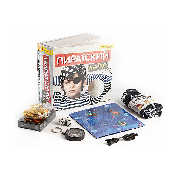 Пиратский наборКарнавальные аксессуары для детей<br>Характеристики товара:<br><br>• возраст: от 3 лет;<br>• пол: мальчик;<br>• в комплекте: книга, пиратская бандана, стикеры, игральные кубики, пиратские монеты, компас, веревка, колода карт;<br>• из чего сделана игрушка (состав): бумага, картон, пластмасса, ткань;<br>• размер упаковки: 17х6х17 см.;<br>• упаковка: картонная коробка блистерного типа.<br><br>В этом наборе нет бутылки рома!<br>Зато в нем есть все необходимое для здорового пиратского отдыха – колода пиратских карт, компас, стикеры, пиратская бандана, игра. И, конечно, книга. Чтобы юные пираты не забывали о своих великих предшественниках!<br>                                                              Отличный набор для подарка ребенку! Ребенок от 6 лет вполне может справится сам! До 6 лет при помощи родителей.<br>     <br>Настольную игру «Пиратский набор» можно купить в нашем интернет-магазине.<br>Ширина мм: 170; Глубина мм: 60; Высота мм: 170; Вес г: 500; Возраст от месяцев: 36; Возраст до месяцев: 2147483647; Пол: Унисекс; Возраст: Детский; SKU: 7315118;
