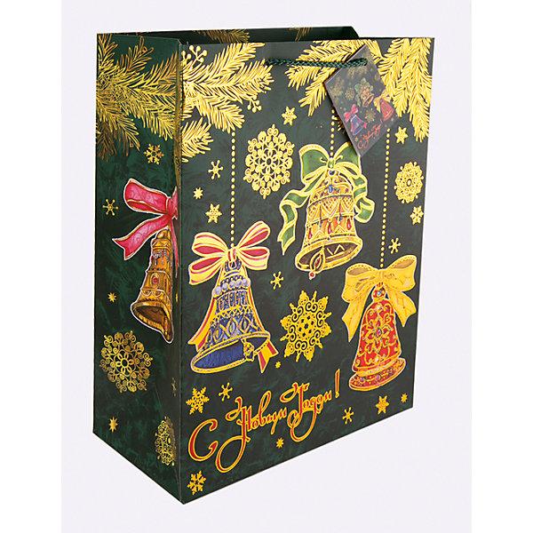 Бумажный пакет Елки с колокольчиками для сувенирной продукции, с ламинациейУпаковка новогоднего подарка<br>Характеристики:<br><br>• размер пакета: 32,4х26х12,7 см;<br>• ширина основания: 26 см;<br>• плотность бумаги: 250 г/м2;<br>• масса: 107 г.<br><br>Красивый ламинированный пакет понадобится для упаковки подарков и сувениров. Пакет удобного размера, он может вместить презент среднего размера.<br><br>Тематическая новогодняя иллюстрация на пакете подойдет и для взрослых, и для детей. Две прочные ручки надежно закреплены. Очень плотная бумага хорошо держит форму.<br><br>Подарочный пакет необходим для хорошего оформления подарков друзьям и родным.<br><br>Бумажный пакет «Елки с колокольчиками» для сувенирной продукции, с ламинацией, Magic Time можно купить в нашем интернет-магазине.<br>Ширина мм: 325; Глубина мм: 260; Высота мм: 1; Вес г: 107; Возраст от месяцев: 36; Возраст до месяцев: 2147483647; Пол: Унисекс; Возраст: Детский; SKU: 7317205;