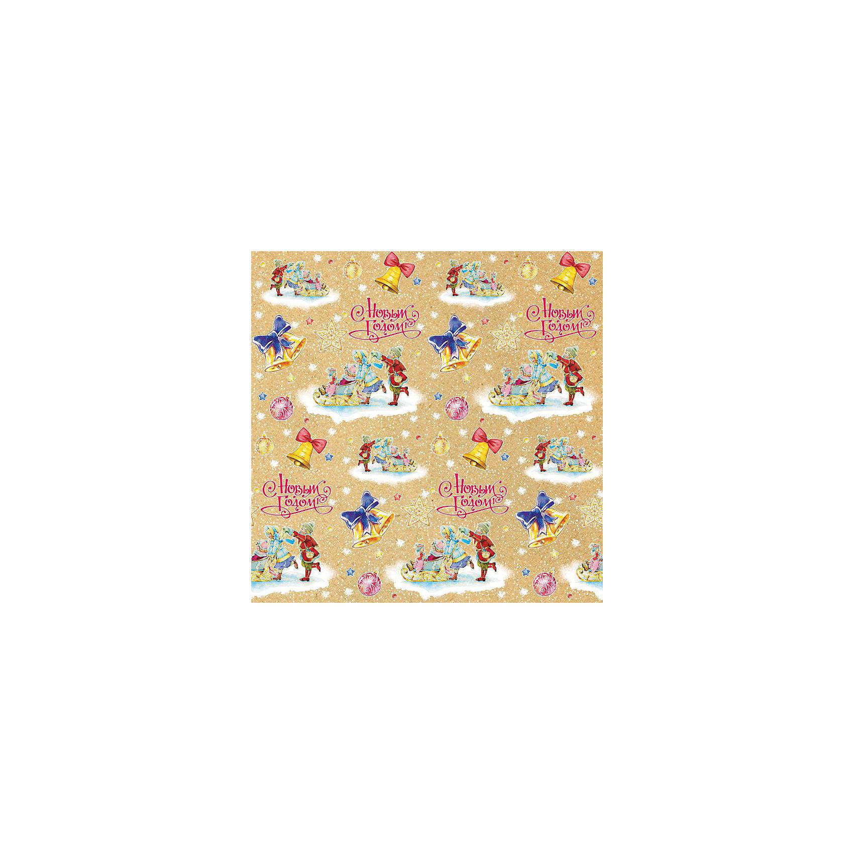 Крафт бумага Малыши на санках для сувенирной продукции от myToys