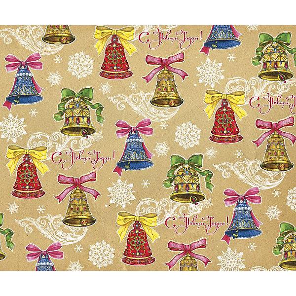 Крафт бумага Колокольчики с бантами для сувенирной продукцииУпаковка новогоднего подарка<br>Характеристики:<br><br>• размер листа: 100х70 см;<br>• плотность бумаги: 80 г/м2;<br>• масса: 60 г.<br><br>Красочная упаковочная бумага поможет красиво оформить подарок для взрослого или ребенка. Тематический новогодний принт гармонично подойдет для праздничного сюрприза.<br><br>Большие листы немелованной бумаги оформлены полноцветным декоративным рисунком. Каждый лист аккуратно свернут в рулончик, поэтому не имеет сгибов и заломов.<br><br>Одного листа будет достаточно для упаковки подарка среднего размера, для большего объема необходимо приобрести несколько листов одной расцветки или скомбинировать несколько видов одной цветовой гаммы.<br><br>Крафт бумагу «Колокольчики с бантами» для сувенирной продукции, Magic Time можно купить в нашем интернет-магазине.<br>Ширина мм: 700; Глубина мм: 30; Высота мм: 30; Вес г: 60; Возраст от месяцев: 36; Возраст до месяцев: 2147483647; Пол: Унисекс; Возраст: Детский; SKU: 7317238;