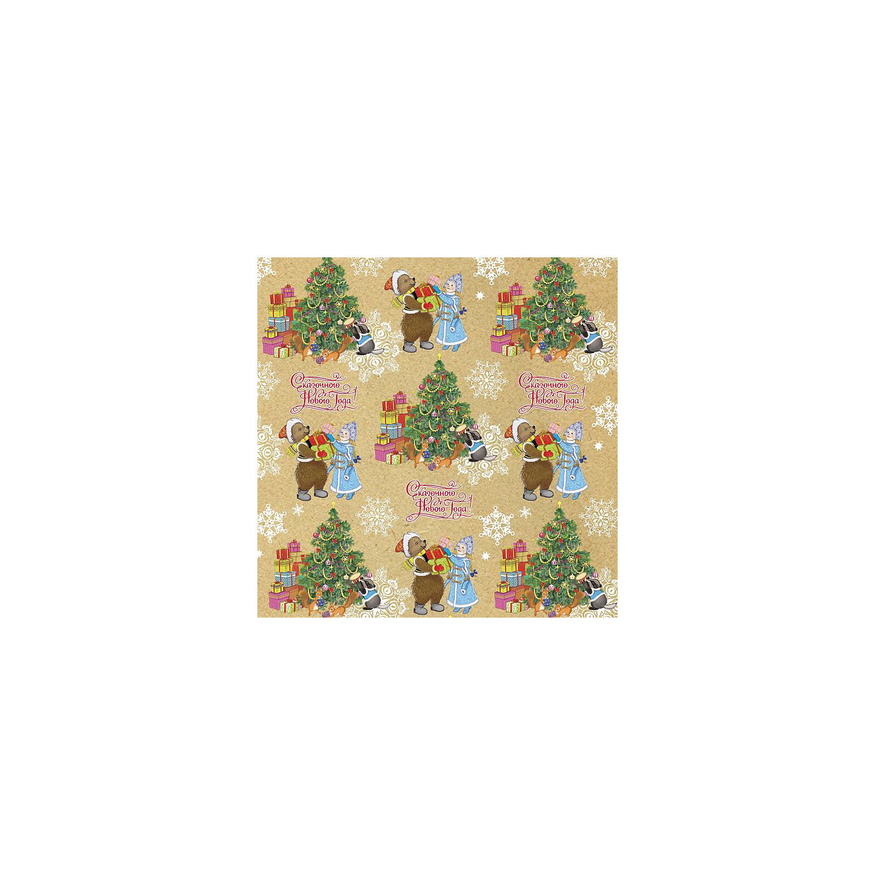 Крафт бумага Снегурочка с мишкой для сувенирной продукции в листах от myToys