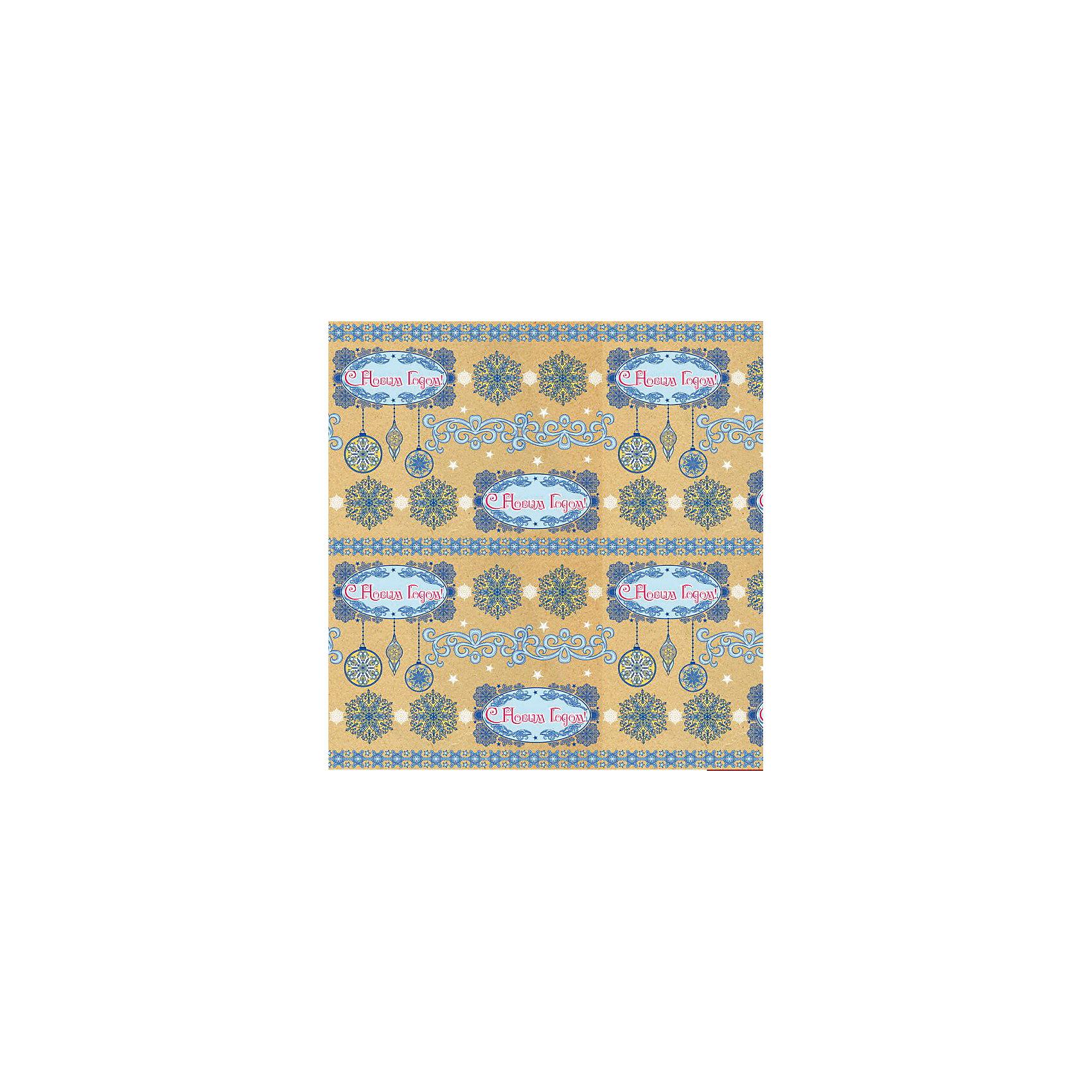 Крафт бумага Голубые узоры для сувенирной продукции в листах от myToys