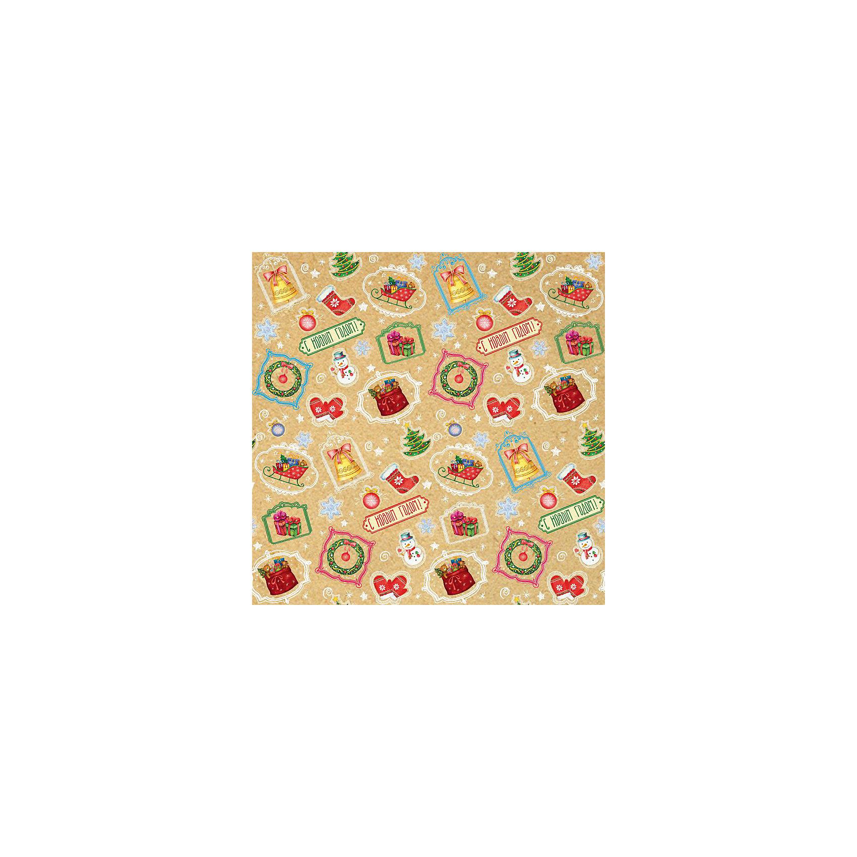 Крафт бумага Новогодний калейдоскоп для сувенирной продукции в листах от myToys