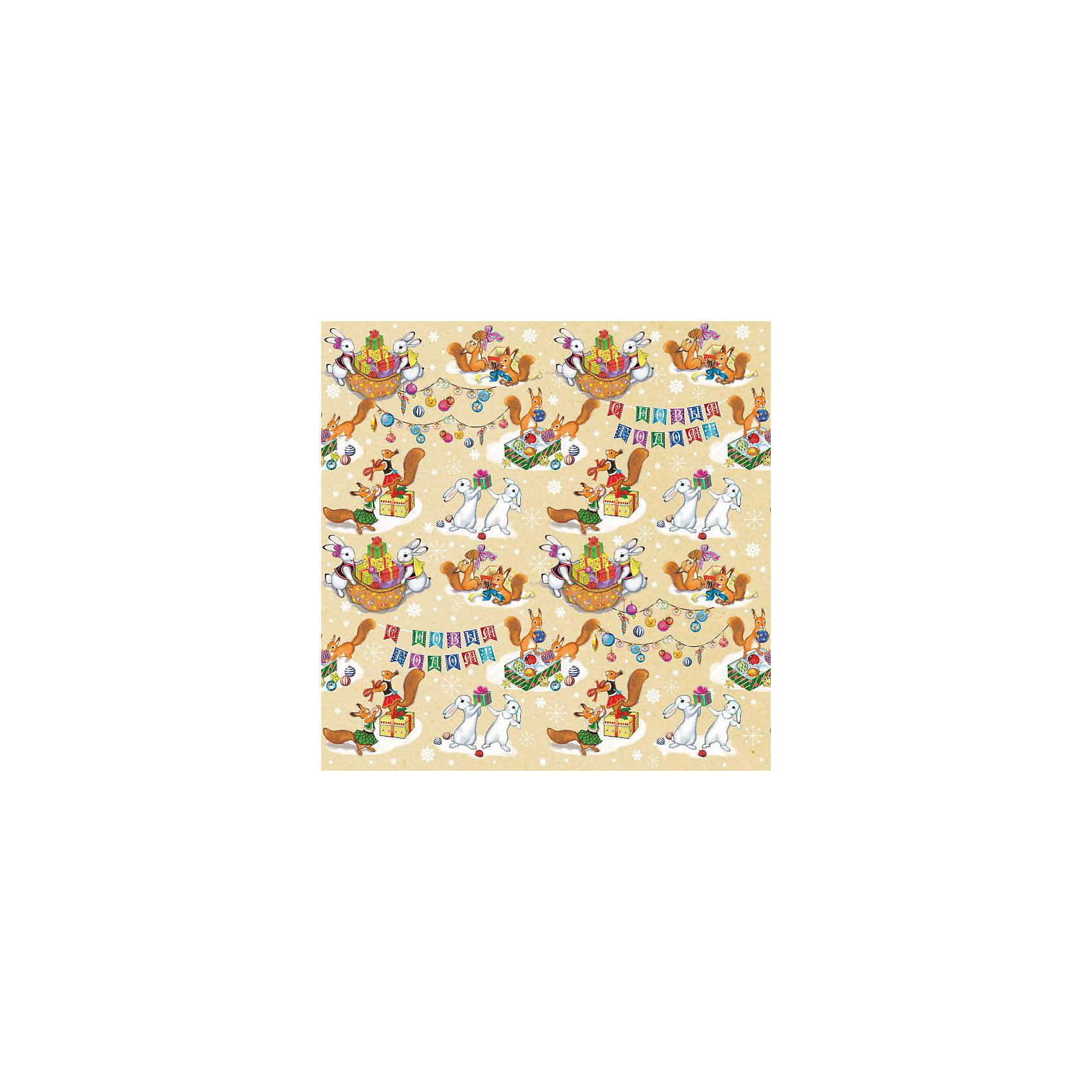 Крафт бумага Зайчики и белочки для сувенирной продукции в листах от myToys