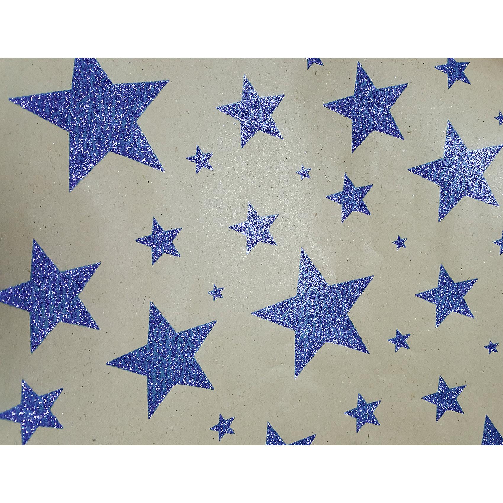 Крафт бумага Синие звезды для сувенирной продукции в листах от myToys