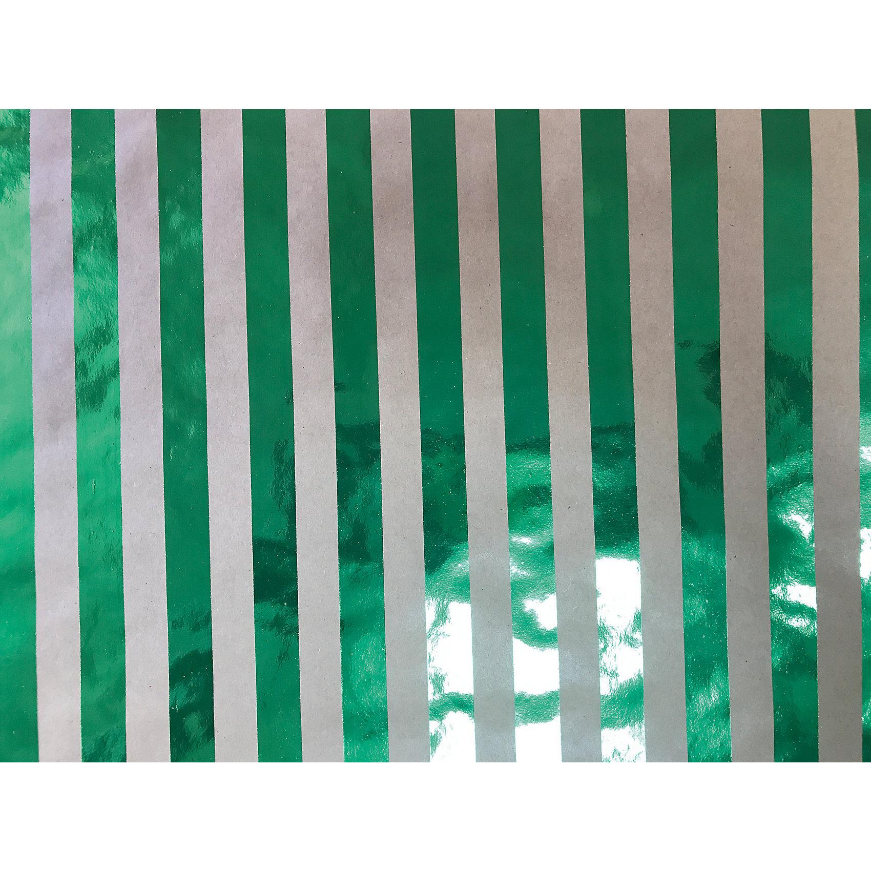Крафт бумага Зеленые полоски для сувенирной продукции в листах от myToys