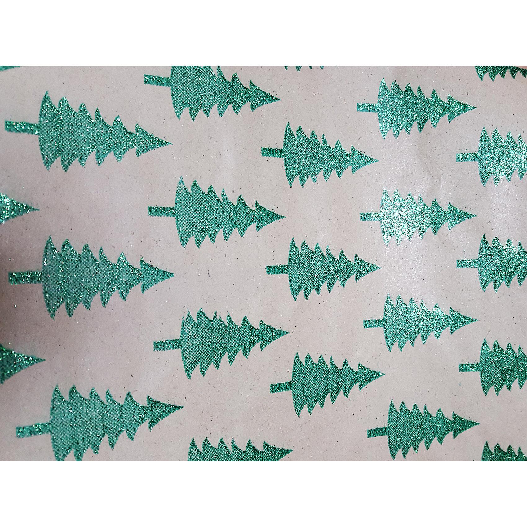 Крафт бумага Зеленые елочки для сувенирной продукции в листах от myToys