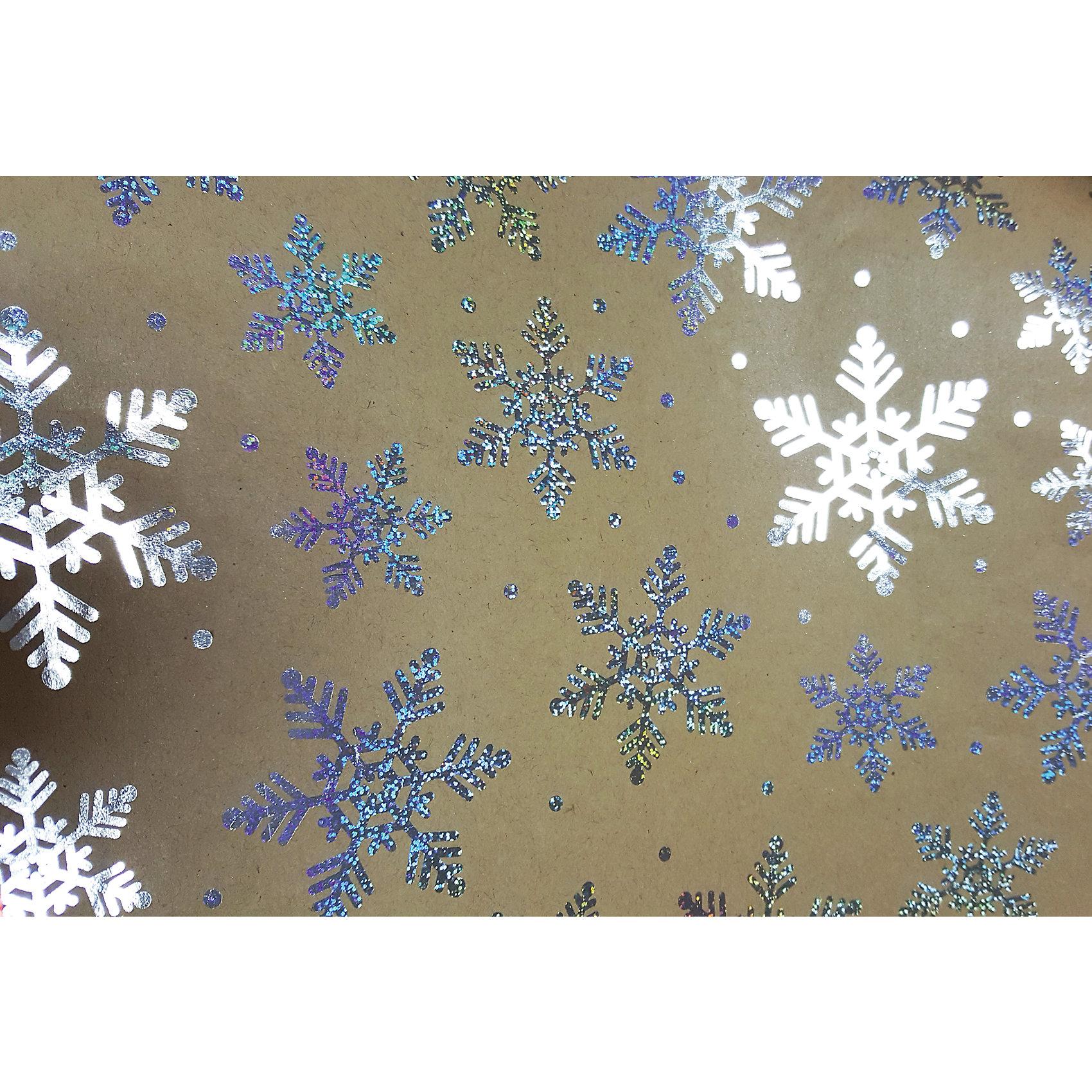 Крафт бумага Серебряные снежинки для сувенирной продукции от myToys