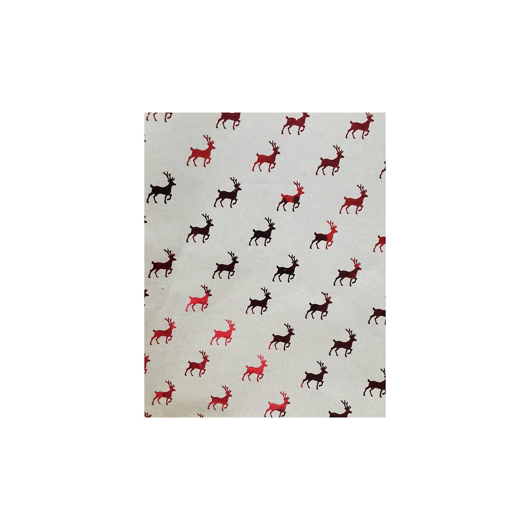 Крафт бумага Красные олени для сувенирной продукции от myToys