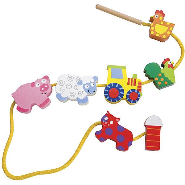 Игрушка-шнуровка Alex Little Hands Домик в деревнеРазвивающие игрушки<br>Характеристики товара:<br><br>• возраст: от 3 лет;<br>• материал: дерево;<br>• в комплекте: 12 фигурок, игла, шнур;<br>• размер упаковки: 26,5х19х4 см;<br>• вес упаковки: 620 гр.;<br>• страна производитель: Китай.<br><br>Развивающая игра «Домик в деревне» Alex — игра для малышей в виде нанизанных на шнурок фигурок. Малышу предстоит самостоятельно нанизывать игрушки на шнурочек при помощи специальной иголочки. Последовательность фигурок малыш сможет каждый раз менять. Игрушка способствует развитию мелкой моторики рук, логического мышления, цветового и зрительного восприятия, усидчивости. Выполнена из натурального дерева.<br><br>Развивающую игру «Домик в деревне» Alex можно приобрести в нашем интернет-магазине.<br><br>Ширина мм: 9999<br>Глубина мм: 9999<br>Высота мм: 9999<br>Вес г: 9999<br>Возраст от месяцев: 36<br>Возраст до месяцев: 2147483647<br>Пол: Унисекс<br>Возраст: Детский<br>SKU: 7319363