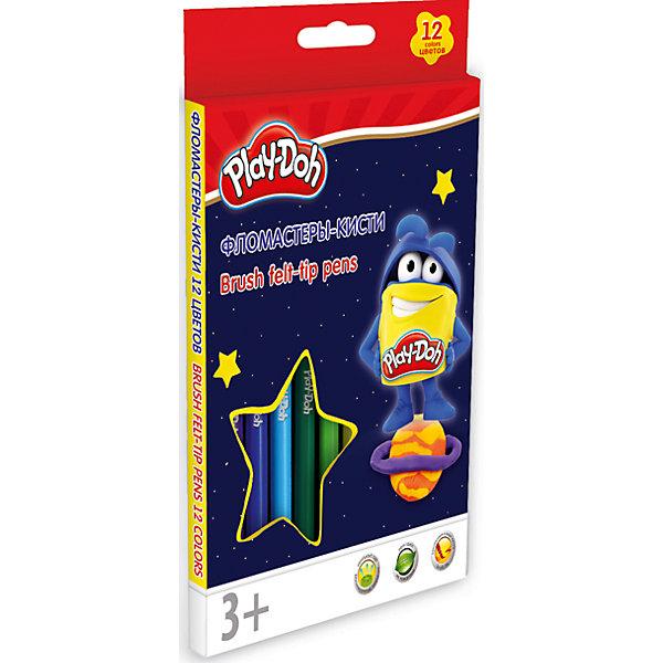 Фломастеры-кисти Академия Групп Play-Doh, 12 цветовФломастеры<br>Характеристики:<br><br>• цветные фломастеры-кисти для творчества, 12 цветов;<br>• размер фломастеров: 15,8х1 см;<br>• нейлоновый стержень;<br>• безопасный фетровый наконечник закругленной формы;<br>• вентилируемый колпачек, прозрачный;<br>• материал: нетоксичный пластик, чернила;<br>• упаковка: пластиковая коробка;<br>• размер упаковки: 18,5х12,9х1,1 см;<br>• вес: 100 г.<br><br>Фломастеры с безопасным наконечником используются в процессе развивающих занятий с детьми старше 3-х лет. Фетровый наконечник закругленной формы выдерживает самый сильный нажим и удар. Каждый фломастер рисует под любым углом. <br><br>Набор фломастеров-кистей 12 цв. можно купить в нашем интернет-магазине.<br>Ширина мм: 11; Глубина мм: 129; Высота мм: 185; Вес г: 100; Возраст от месяцев: 36; Возраст до месяцев: 72; Пол: Унисекс; Возраст: Детский; SKU: 7319933;