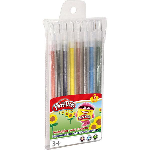 Восковые мелки Академия Групп Play-Doh выдвижные, 8 цветовМасляные и восковые мелки<br>Характеристики:<br><br>• набор восковых мелков, 8 шт.;<br>• особенности мелков: выдвижные;<br>• используются для рисования на бумаге и картоне;<br>• цветовая гамма: 8 цветов;<br>• упаковка: пластиковый пенал с европодвесом;<br>• размер упаковки: 16х10х1 см;<br>• вес: 120 г.<br><br>Восковые выдвижные мелки для детского творчества. Каждый мелок имеет пластиковый держатель и выдвижной механизм. Мелками можно рисовать на картоне и бумаге. <br><br>Восковые мелки Play-Doh, 8 шт. можно купить в нашем интернет-магазине.<br><br>Ширина мм: 200<br>Глубина мм: 160<br>Высота мм: 12<br>Вес г: 120<br>Возраст от месяцев: 36<br>Возраст до месяцев: 72<br>Пол: Унисекс<br>Возраст: Детский<br>SKU: 7319938